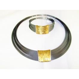 Naszyjnik srebrny z elementami złocenia
